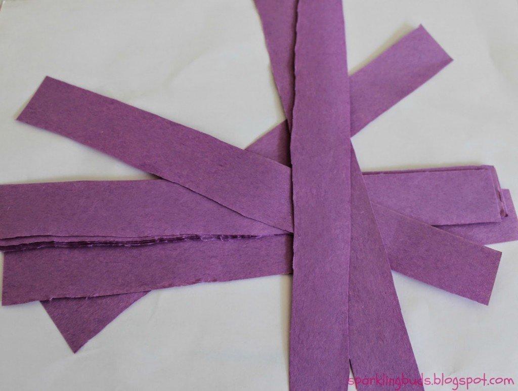 purple strips of paper